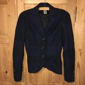 Diane von Furstenberg metallic blue plaid blazer